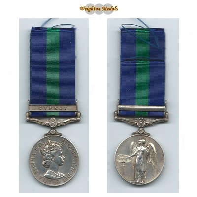 G.S.M. - Cyprus Clasp - Cpl. P W Anderson