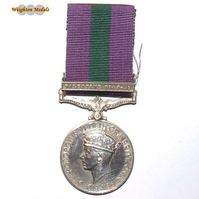 General Service Medal - Palestine Clasp - Pte. J Clements
