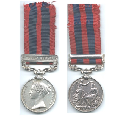 India General Service Medal - Burma -1887-89 Sep. Gouja Jemelhin